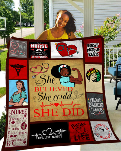 Black Nurse Fleece Blanket