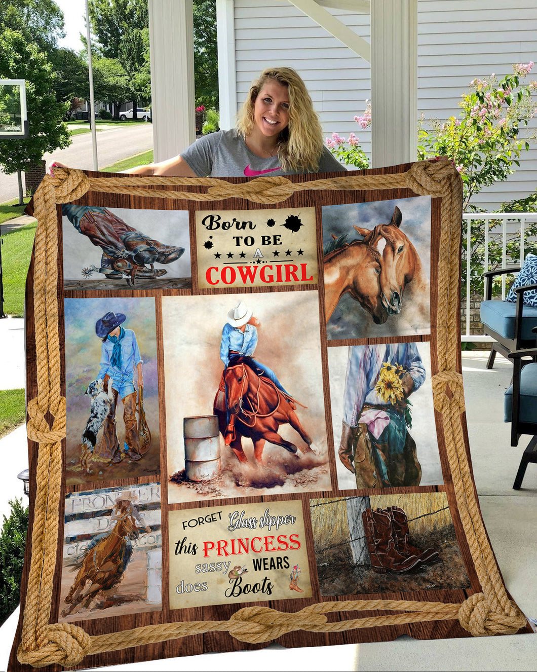 Born to be a Cowgirl Fleece Blanket