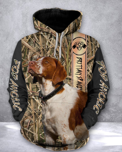 Brittany Spaniel dog hunting Camo all over print hoodie shirt - IPH583