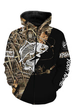 Load image into Gallery viewer, Carp Personalized fishing tattoo camo all-over print long sleeve, T-shirt, Hoodie, Zip up hoodie - FSA6B Black version