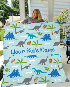Dinosaur personalized fleece blanket best gift for your children