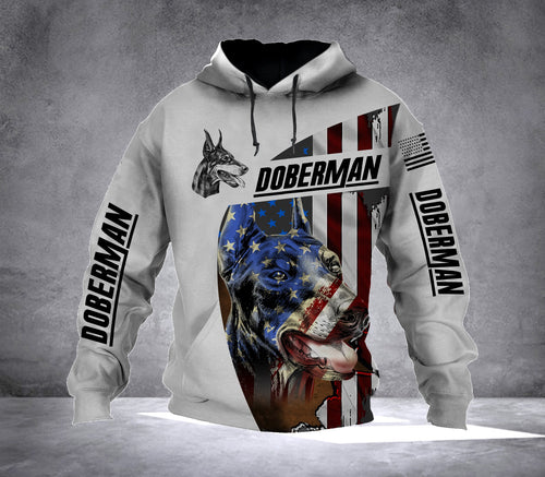 Doberman Dog Amercan Flag 4th of July Patriot Full Printing Hoodie shirt - IPH555
