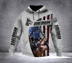 Doberman dog flag all over print unisex hoodie shirt - IPH555
