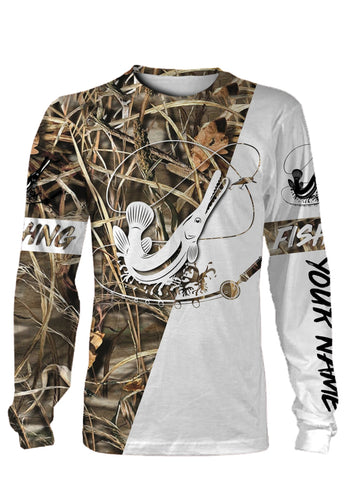 Alligator Gar Customized name fishing tattoo camo all-over print long sleeve, T-shirt, Hoodie, Zip-up hoodie - FSA13