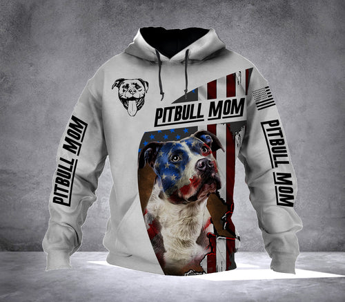 Flag Pitbull Mom Full printing Hoodie shirt - IPH660