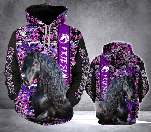 Black Friesian Horse-aholic all over print hoodie shirt - IPH635