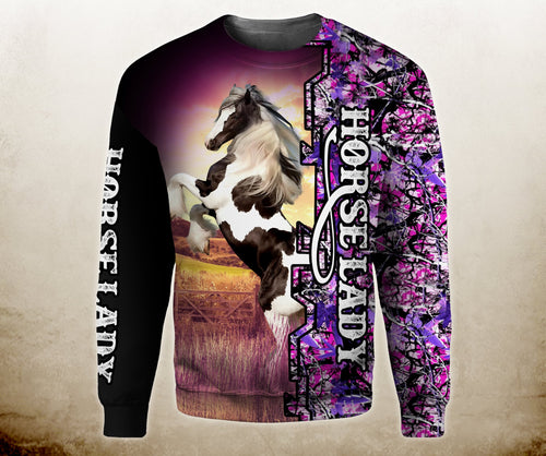 Gypsy Vanner Horse Lady camo all over print hoodie shirt, long sleeve, zip up hoodie - IPH641