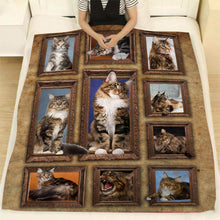 Load image into Gallery viewer, 3D Maine Coon Cat Throw Fleece Blanket - 3DTH176