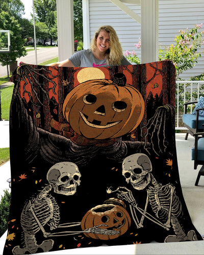 Skeleton Halloween Soft Fleece Throw Blanket King Size Halloween Ideas- NQS10