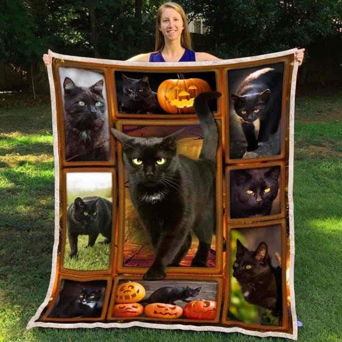 Halloween Black Cat Fleece Blanket - IPH518