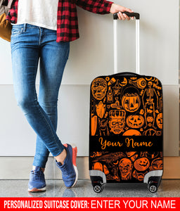Personalized Name 3D Suitcase Cover Halloween Pumpkin - SPFTA002