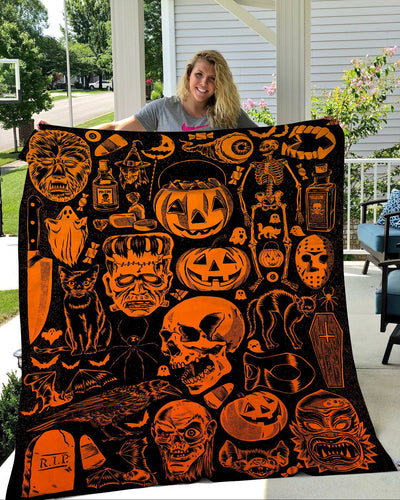 Halloween Pumpkin and Skull Fleece Blanket