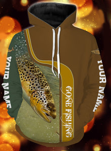 Personalized name brown trout gone fishing full printing shirt and hoodie - TATS46