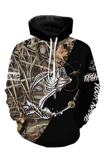 Personalized fishing tattoo full printing shirt and hoodie - black version