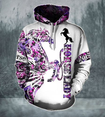 Horse Lady purple pink camo all over print hoodie shirt - IPH638