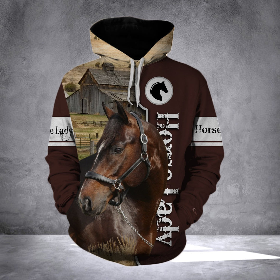 Brown horse lady all over print hoodie shirt - IPH653