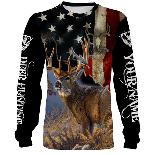 Deer Hunting US Flag Full Printing Custom Name Shirt Personalized Gift TATS107