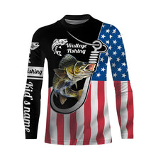 Load image into Gallery viewer, Walleye Fishing 3D American Flag Patriot Custom name All over print shirts - personalized US fishing gift for men and women - IPH1490