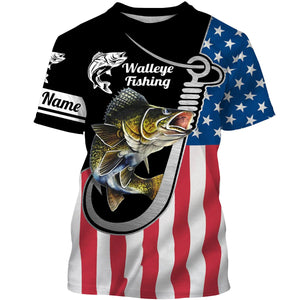Walleye Fishing 3D American Flag Patriot Custom name All over print shirts - personalized US fishing gift for men and women - IPH1490