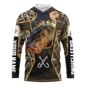 Fish on bass fishing UV protection quick dry Customize name long sleeves UPF 30+ personalized gift