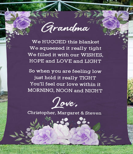 Personalized nana fleece blanket, letter from grand kids for grandma, custom kid's name blanket gift for grandma