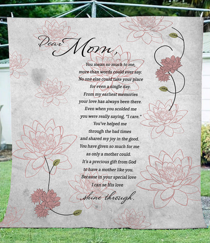 Dear Mom fleece blanket - perfect idea gift for mother's day - personalized gift for mother