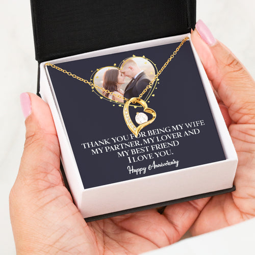 Custom photo happy anniversary Forever love necklace Personalized gift for your wife