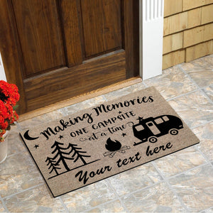 Making memories one campsite at a time custom text doormat personalized gift