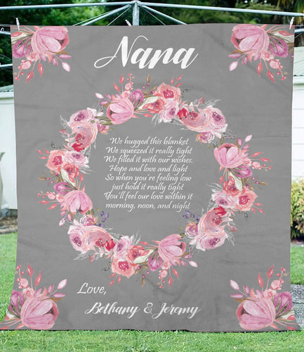 Nana custom name blanket, personalized gift for grandma