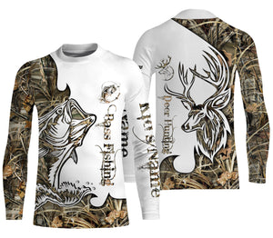 Bass fishing deer hunting customized name All over print shirts - personalized gift - TATS174