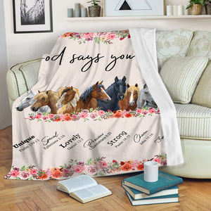 God says you are - love horse fleece blanket