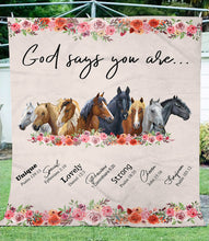 Load image into Gallery viewer, God says you are - love horse fleece blanket