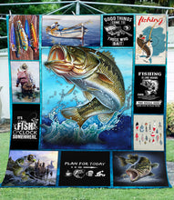 Load image into Gallery viewer, Bass fishing time fleece blanket