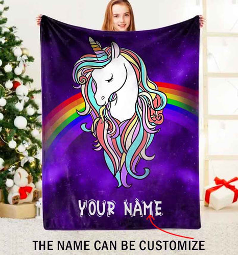 Unicorn Custom Name Fleece Blanket Personalized Gift