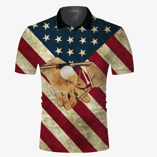 Golf American flag vintage all over print Polo shirt