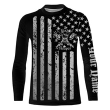 Load image into Gallery viewer, US flag fish reaper UV protection quick dry customize name long sleeves shirts UPF 30+ personalized gift
