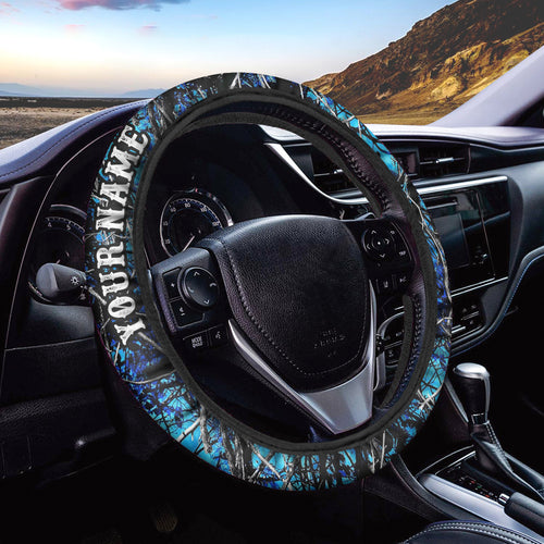 Teal camo blue muddy camo Custom Steering wheel cover - Chipteeamz IPHW908