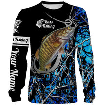 Load image into Gallery viewer, Smallmouth Bass blue muddy camo fish hook Customize name 3D All over print shirts - personalized fishing apparel gift for men, women and kid - IPH1576