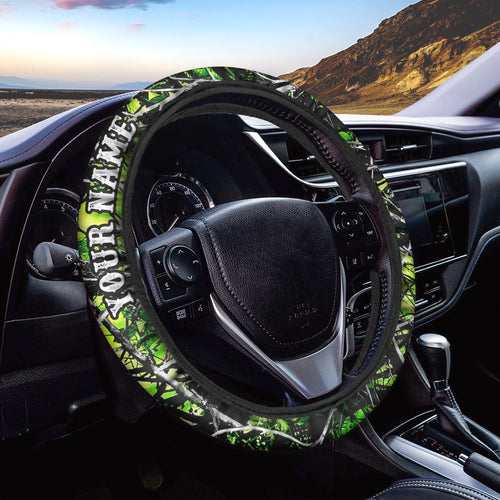 Green muddy camo Custom Steering wheel cover, personalized Car Accessories  - Chipteeamz IPHW932