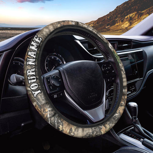 Tree camo Custom Steering wheel cover, personalized Car Accessories for Hunting lovers - Chipteeamz IPHW933