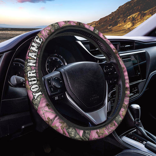 Pink tree camo Custom Steering wheel cover, personalized Car Accessories  - Chipteeamz IPHW935