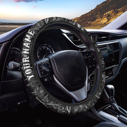 Black grey muddy camo Custom Steering wheel cover, personalized Car Accessories  - Chipteeamz IPHW938