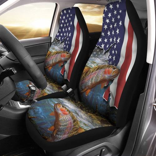 Rainbow Trout (Steelhead) Fishing American Flag 3D Printed Seat Cover, perfect car accessories - Patriot fishing gift for fishing lovers Set of 2 - IPH1583