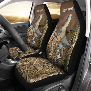 Duck Hunting Camo Custom 3D Printed Seat Covers, perfect car accessories Set of 2 - personalized hunting gift for hunting lovers - IPH1608