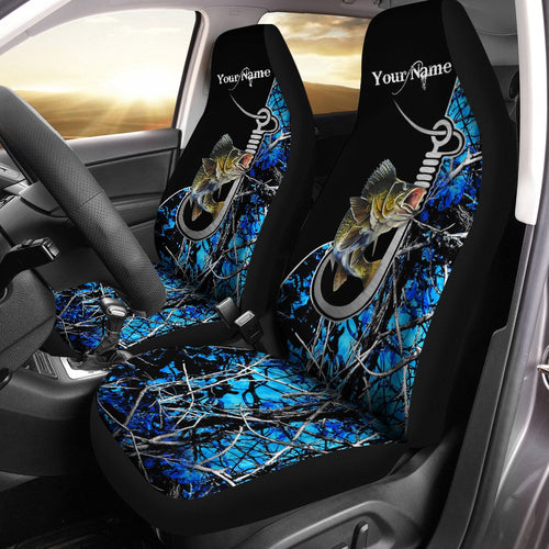 Walleye Fishing Blue muddy camo Custom 3D Seat Covers, perfect car accessories - personalized gift for fishing lovers Set of 2 - IPH1631