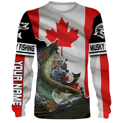 Musky (Muskie) Fishing 3D Canada Flag Patriot Custom name All over print shirts - personalized fishing gift for men and women - IPH1423