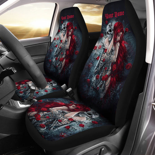 Skull Love Couple and Roses Car Seat Cover, Custom Flower Skull Seat Covers Set of 2, Valentine Skull Girl gifts - Chipteeamz IPHW775