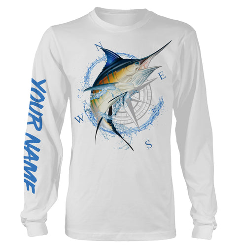 Blue Marlin Fishing compass Custom name All over print shirts - personalized fishing gift for men, women and kid - IPH1296