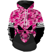 Load image into Gallery viewer, Pink camo girl Skull camouflage Custom Full printing shirts various styles to choose Hoodie, Zip up, Long sleeve, Tank top, T shirt for girl and women - IPH2234