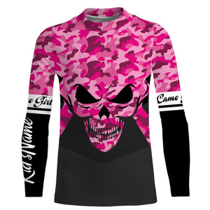Pink camo girl Skull camouflage Custom Full printing shirts various styles to choose Hoodie, Zip up, Long sleeve, Tank top, T shirt for girl and women - IPH2234